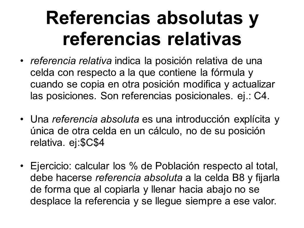 Referencias absolutas y referencias relativas referencia relativa indica la posición relativa de una celda con respecto a la que contiene la fórmula y cuando se copia en otra posición modifica y actualizar las posiciones.