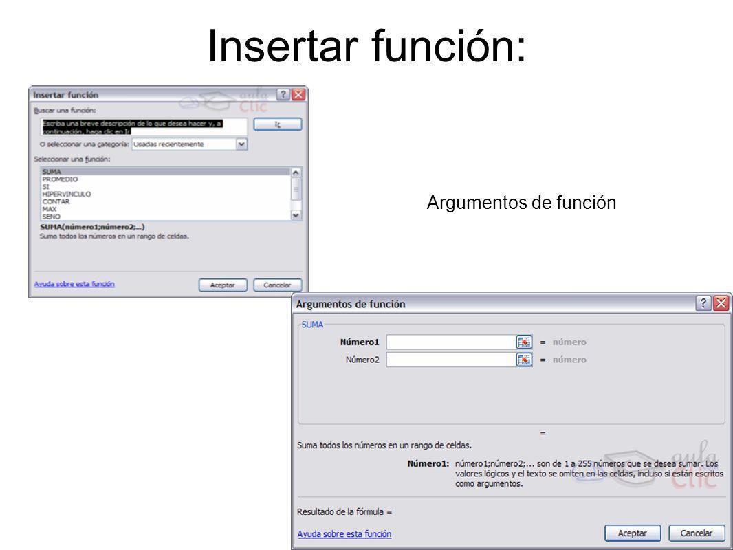 Insertar función: Argumentos de función