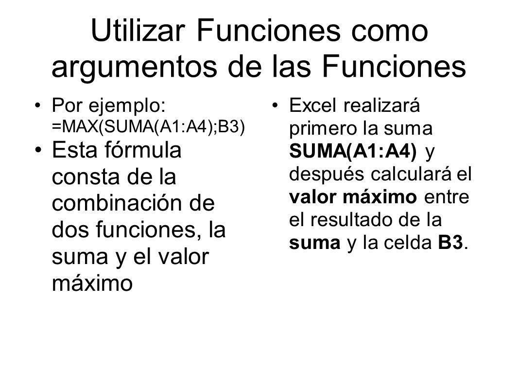 Utilizar Funciones como argumentos de las Funciones Por ejemplo: =MAX(SUMA(A1:A4);B3) Esta fórmula consta de la combinación de dos funciones, la suma y el valor máximo Excel realizará primero la suma SUMA(A1:A4) y después calculará el valor máximo entre el resultado de la suma y la celda B3.