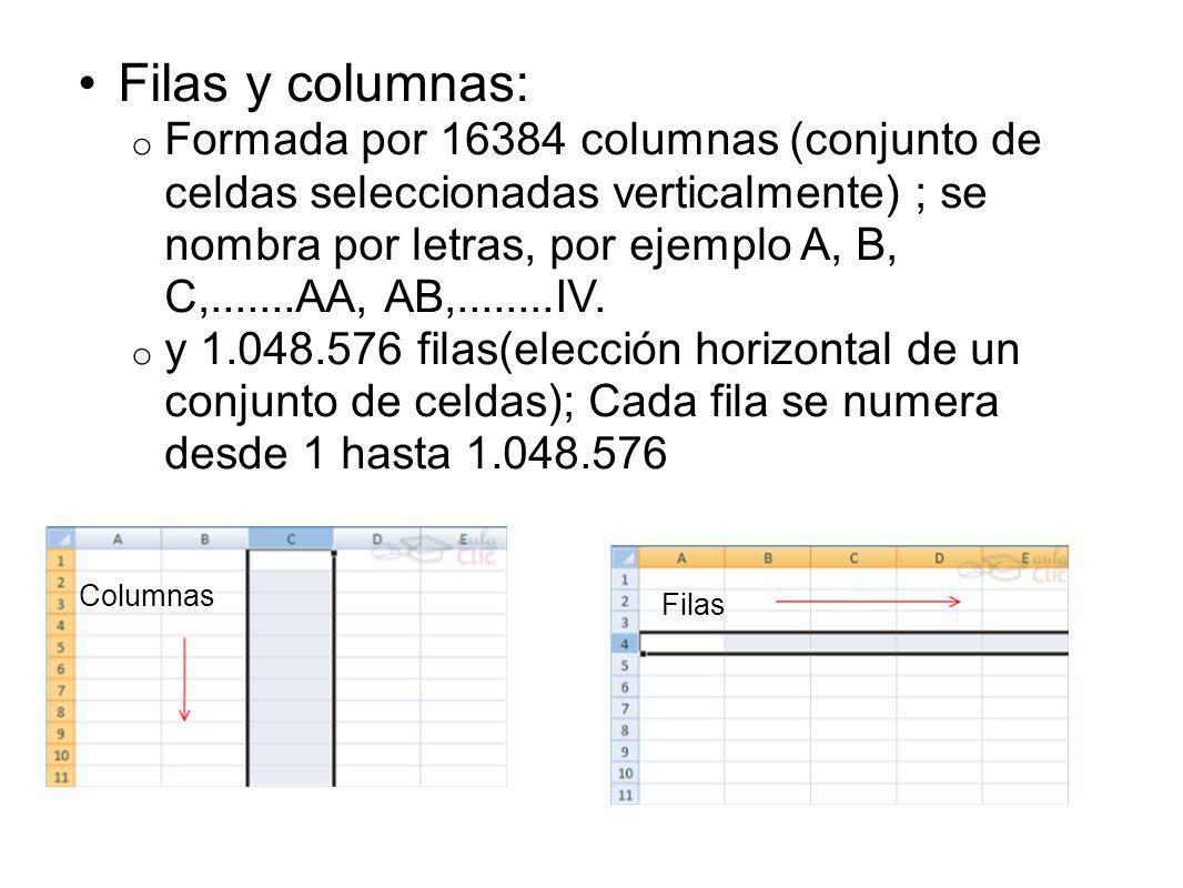 Filas y columnas: o Formada por 16384 columnas (conjunto de celdas seleccionadas verticalmente) ; se nombra por letras, por ejemplo A, B, C,.......AA, AB,........IV.