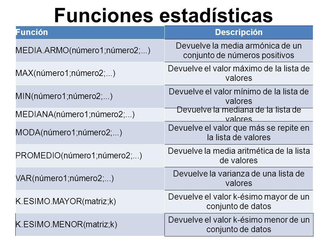 Funciones estadísticas
