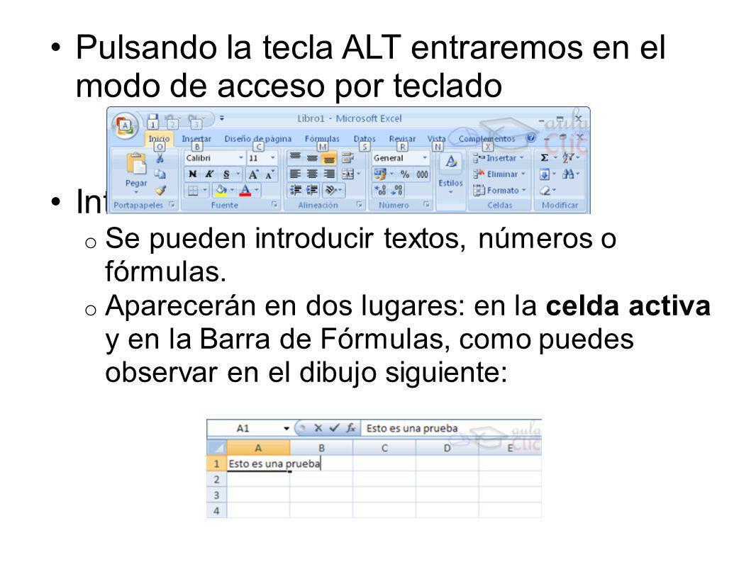 Pulsando la tecla ALT entraremos en el modo de acceso por teclado Introducir datos: o Se pueden introducir textos, números o fórmulas.