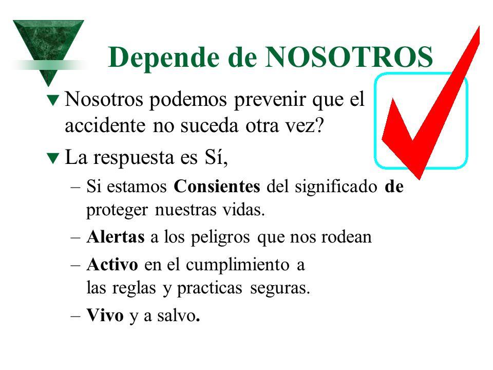 Depende de NOSOTROS t Nosotros podemos prevenir que el accidente no suceda otra vez? t La respuesta es Sí, –Si estamos Consientes del significado de p
