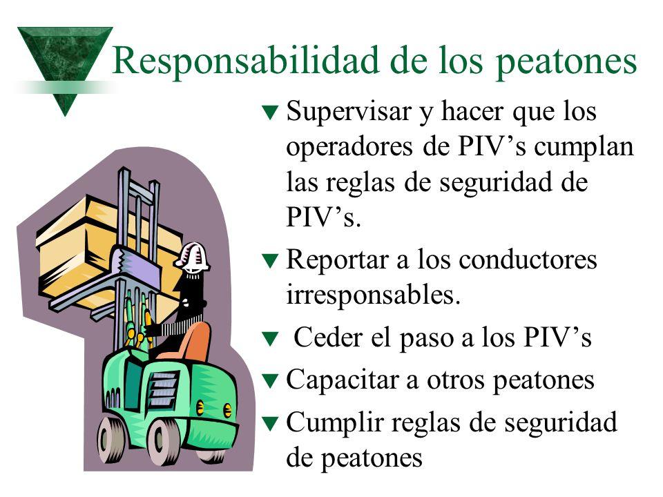 Responsabilidad de los peatones t Supervisar y hacer que los operadores de PIVs cumplan las reglas de seguridad de PIVs. t Reportar a los conductores