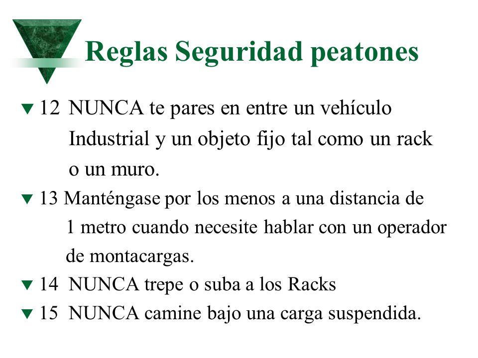 Reglas Seguridad peatones t 12NUNCA te pares en entre un vehículo Industrial y un objeto fijo tal como un rack o un muro. t 13 Manténgase por los meno