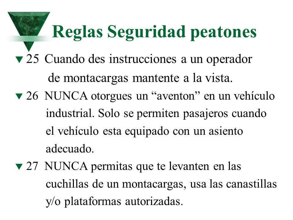 Reglas Seguridad peatones t 25Cuando des instrucciones a un operador de montacargas mantente a la vista. t 26NUNCA otorgues un aventon en un vehículo