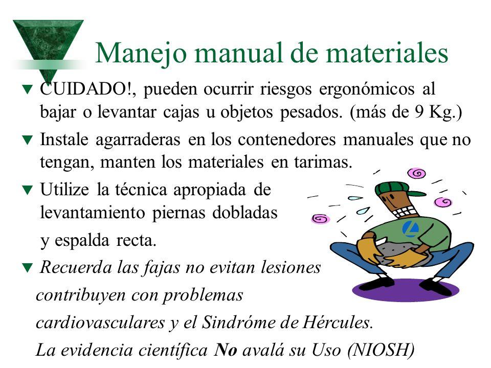 Manejo manual de materiales t CUIDADO!, pueden ocurrir riesgos ergonómicos al bajar o levantar cajas u objetos pesados. (más de 9 Kg.) t Instale agarr