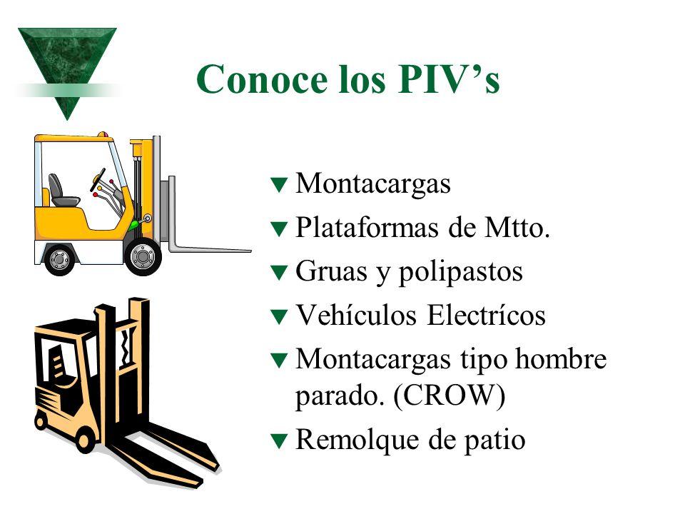 Conoce los PIVs t Montacargas t Plataformas de Mtto. t Gruas y polipastos t Vehículos Electrícos t Montacargas tipo hombre parado. (CROW) t Remolque d