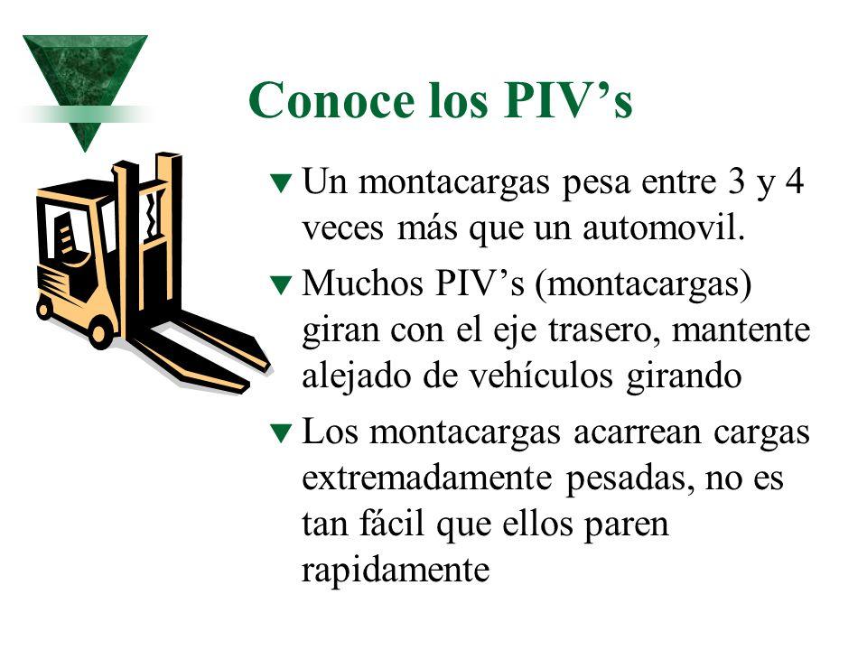 Conoce los PIVs t Un montacargas pesa entre 3 y 4 veces más que un automovil. t Muchos PIVs (montacargas) giran con el eje trasero, mantente alejado d
