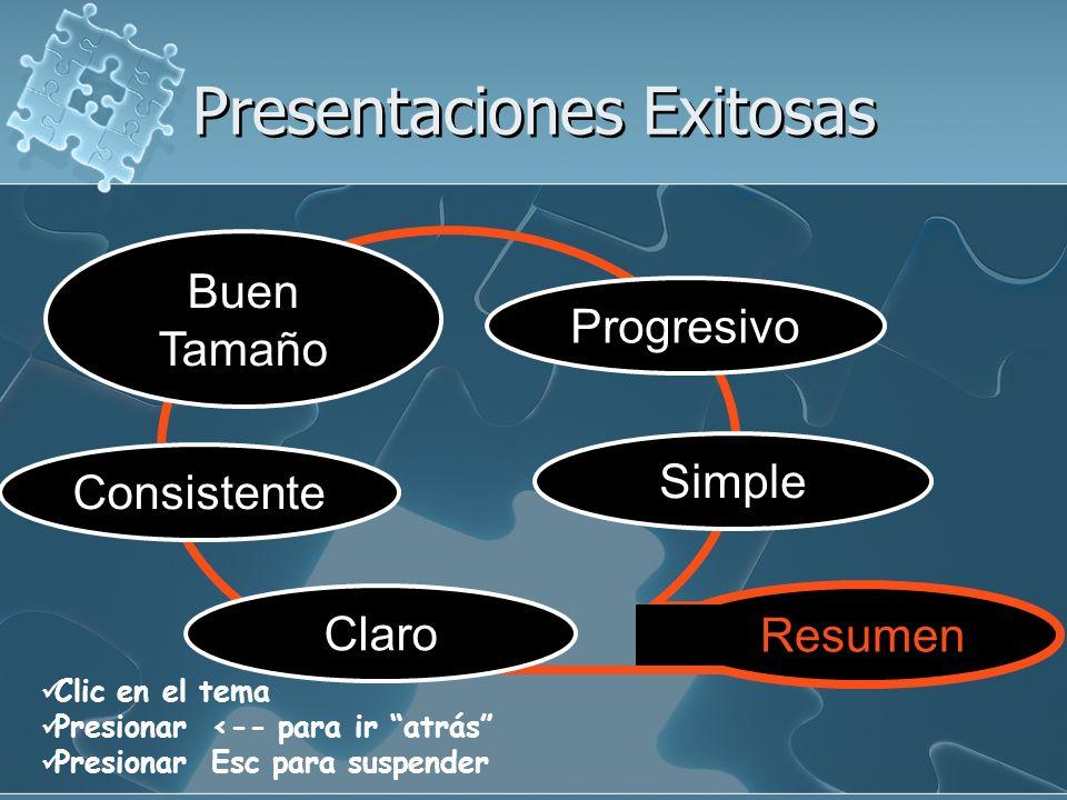 Presentaciones Exitosas Clic en el tema Presionar <-- para ir atrás Presionar Esc para suspender Simple Consistente Claro Buen Tamaño Progresivo Resumen