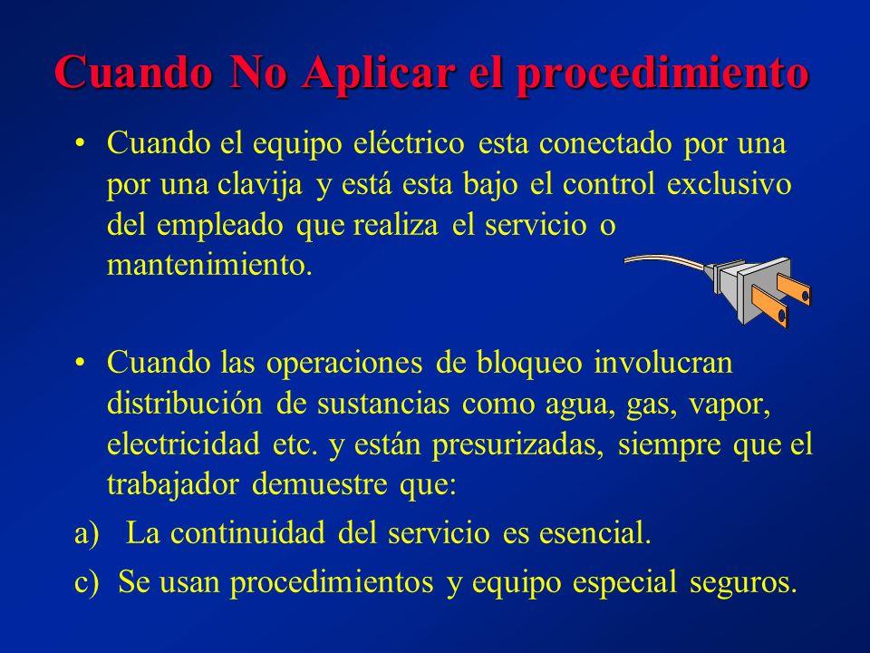 Cuando No Aplicar el procedimiento Cuando el equipo eléctrico esta conectado por una por una clavija y está esta bajo el control exclusivo del empleado que realiza el servicio o mantenimiento.