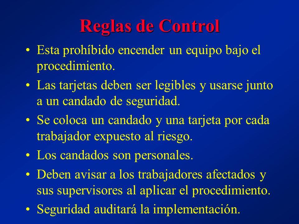 Reglas de Control Esta prohíbido encender un equipo bajo el procedimiento. Las tarjetas deben ser legibles y usarse junto a un candado de seguridad. S