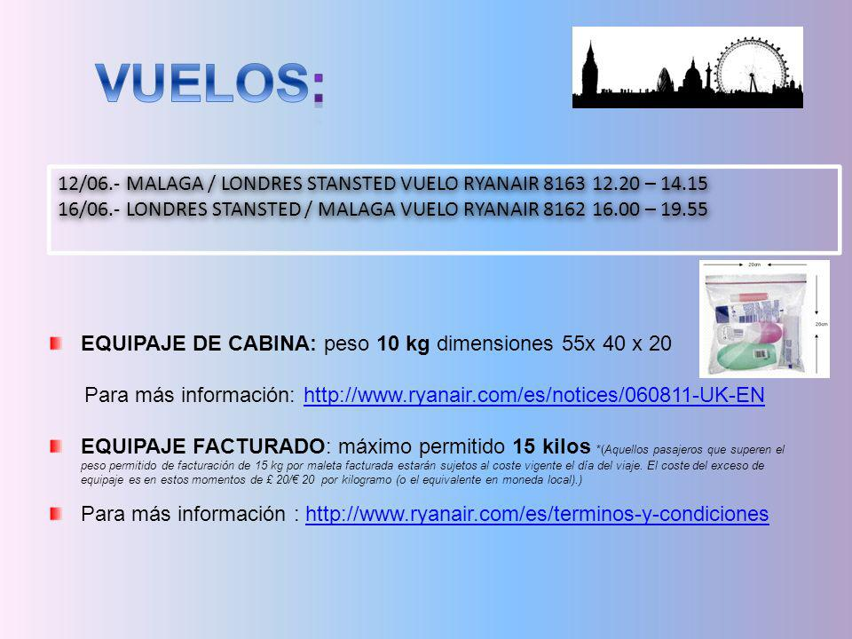 12/06.- MALAGA / LONDRES STANSTED VUELO RYANAIR 8163 12.20 – 14.15 16/06.- LONDRES STANSTED / MALAGA VUELO RYANAIR 8162 16.00 – 19.55 12/06.- MALAGA /
