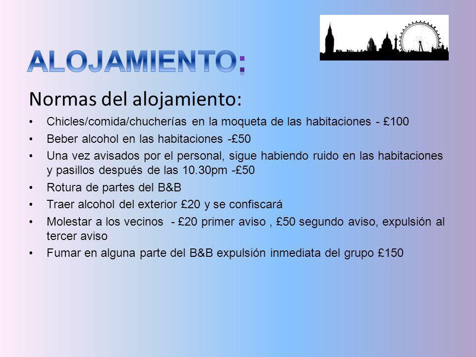 Normas del alojamiento: Chicles/comida/chucherías en la moqueta de las habitaciones - £100 Beber alcohol en las habitaciones -£50 Una vez avisados por