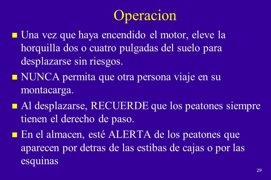 28 Operacion n Cómo subirse o bajarse del montacargas.