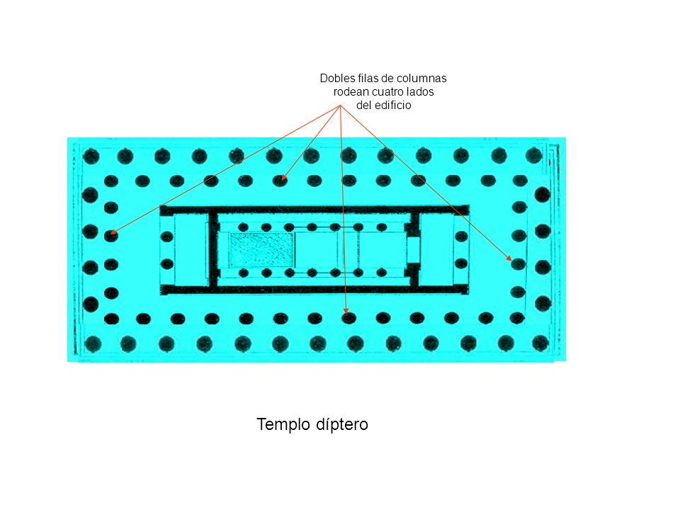Templo díptero Dobles filas de columnas rodean cuatro lados del edificio