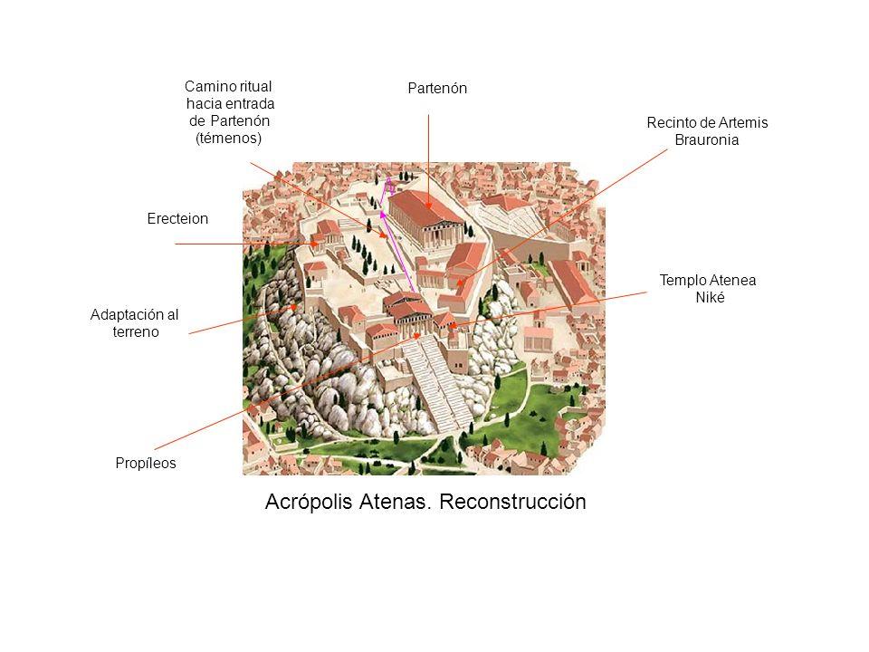 Acrópolis Atenas. Reconstrucción Partenón Erecteion Propíleos Templo Atenea Niké Recinto de Artemis Brauronia Camino ritual hacia entrada de Partenón