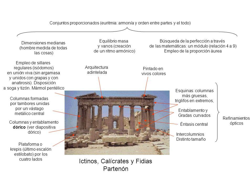Conjuntos proporcionados (euritmia: armonía y orden entre partes y el todo) Dimensiones medianas (hombre medida de todas las cosas) Equilibrio masa y