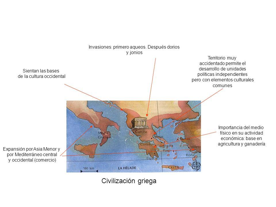 Civilización griega Invasiones: primero aqueos. Después dorios y jonios Territorio muy accidentado permite el desarrollo de unidades políticas indepen