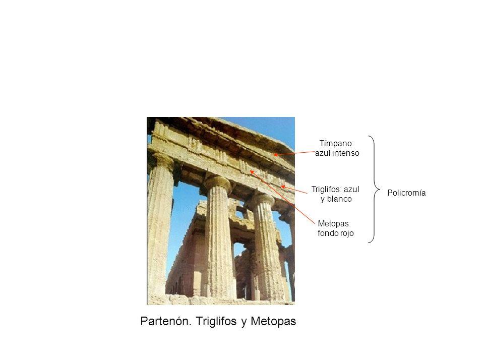 Partenón. Triglifos y Metopas Triglifos: azul y blanco Metopas: fondo rojo Tímpano: azul intenso Policromía
