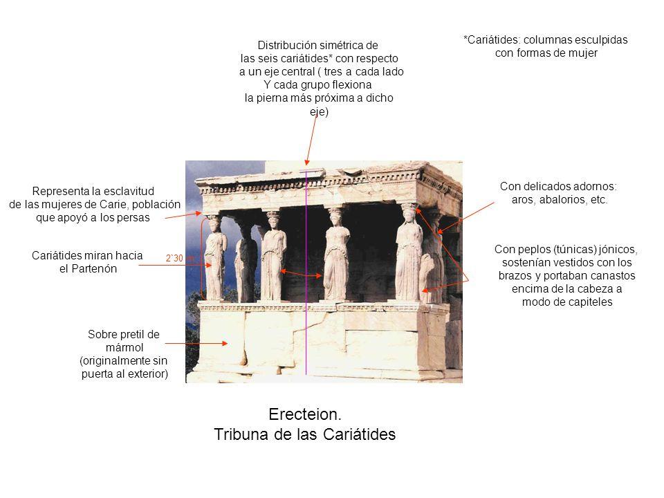Erecteion. Tribuna de las Cariátides Distribución simétrica de las seis cariátides* con respecto a un eje central ( tres a cada lado Y cada grupo flex