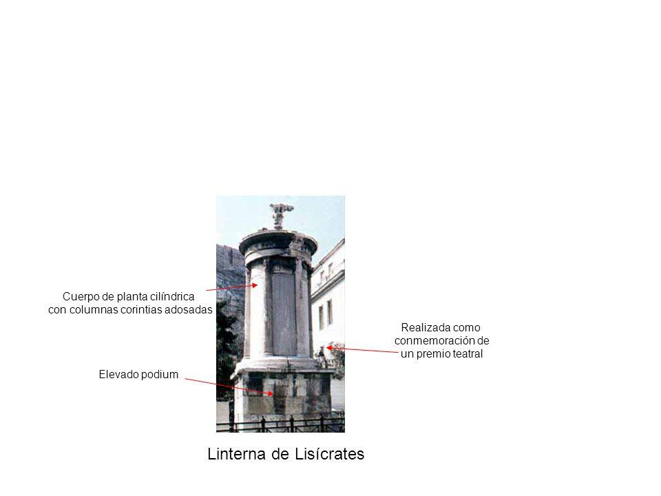 Linterna de Lisícrates Realizada como conmemoración de un premio teatral Elevado podium Cuerpo de planta cilíndrica con columnas corintias adosadas