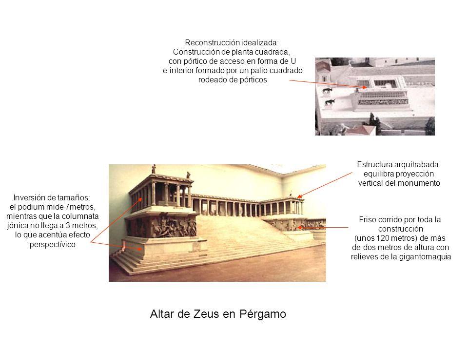 Altar de Zeus en Pérgamo Reconstrucción idealizada: Construcción de planta cuadrada, con pórtico de acceso en forma de U e interior formado por un pat
