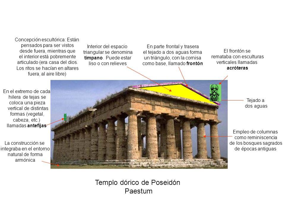 Templo dórico de Poseidón Paestum Tejado a dos aguas En parte frontal y trasera el tejado a dos aguas forma un triángulo, con la cornisa como base, ll