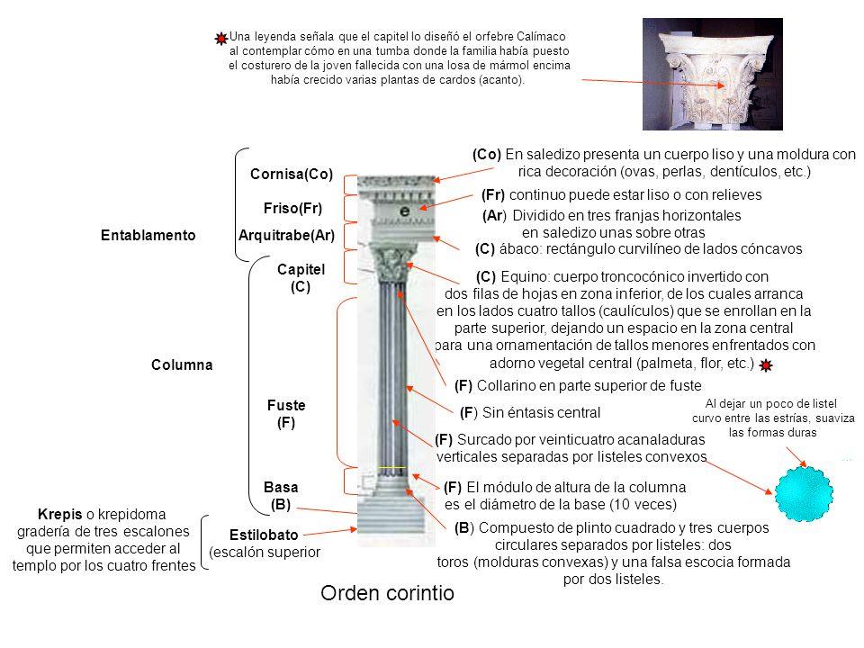 Orden corintio Krepis o krepidoma gradería de tres escalones que permiten acceder al templo por los cuatro frentes Estilobato (escalón superior Column