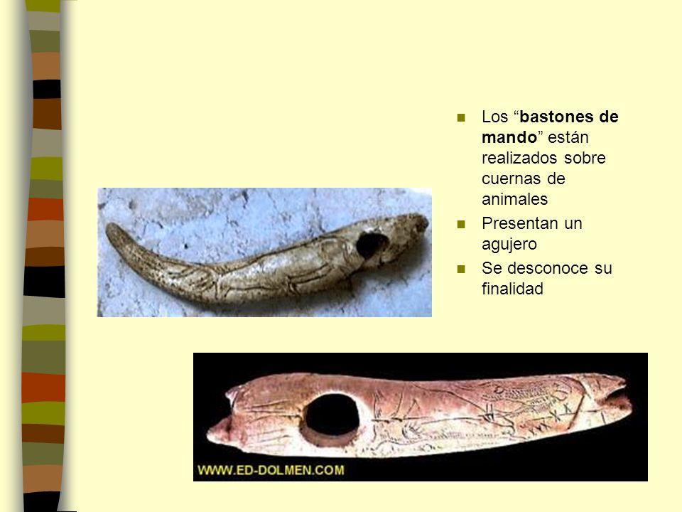 Los bastones de mando están realizados sobre cuernas de animales Presentan un agujero Se desconoce su finalidad
