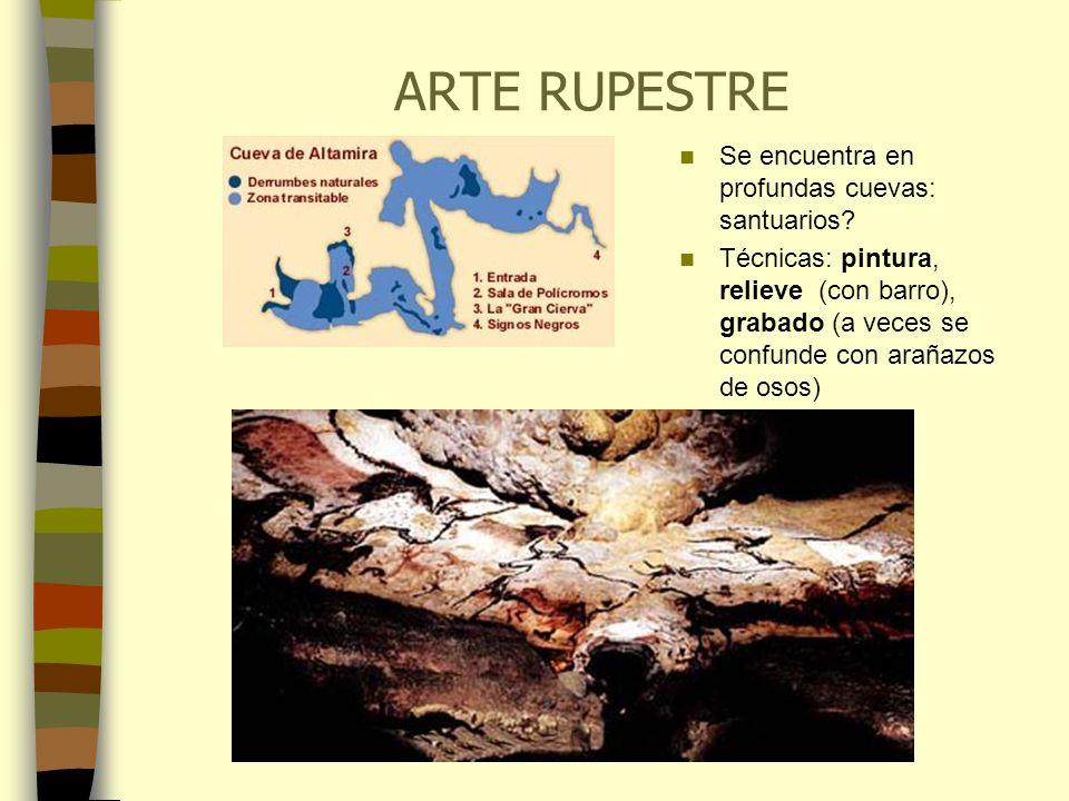 ARTE RUPESTRE Se encuentra en profundas cuevas: santuarios? Técnicas: pintura, relieve (con barro), grabado (a veces se confunde con arañazos de osos)