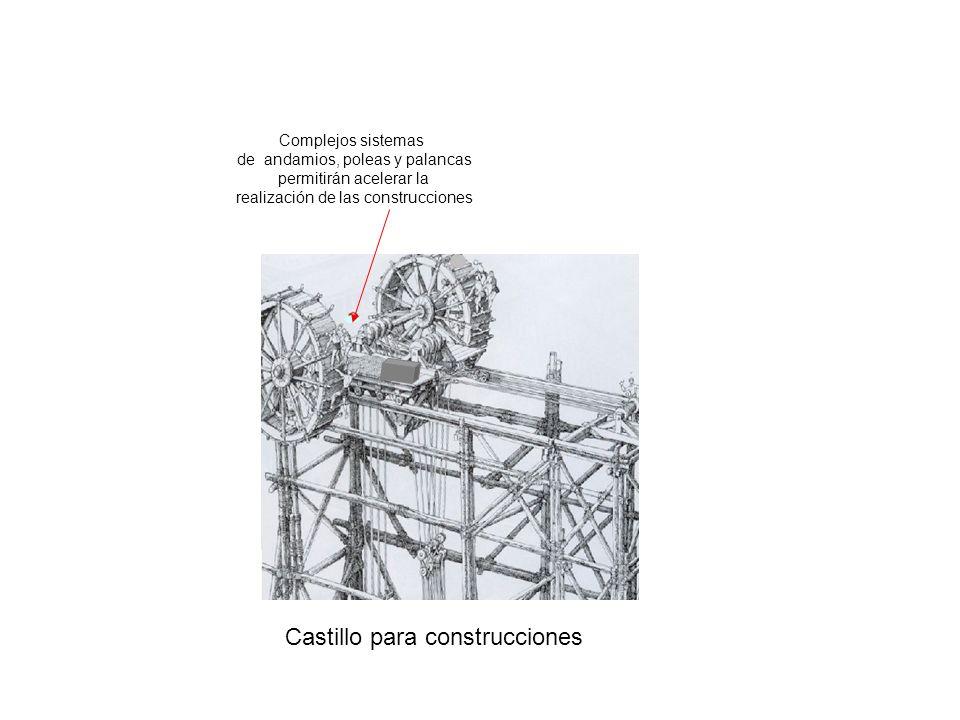 Castillo para construcciones Complejos sistemas de andamios, poleas y palancas permitirán acelerar la realización de las construcciones