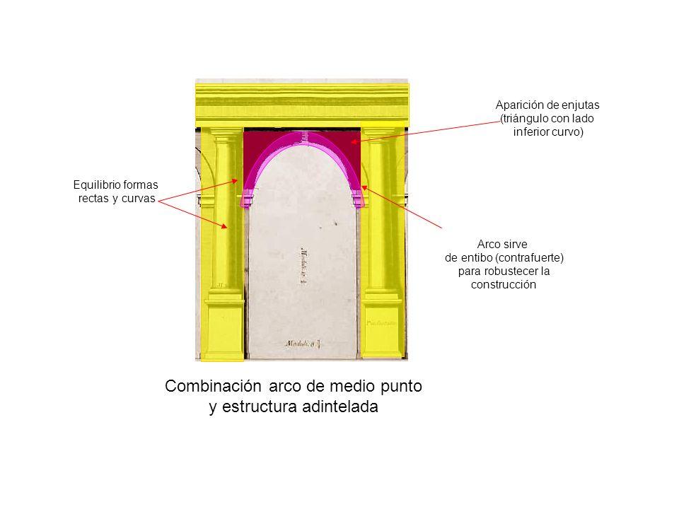 Combinación arco de medio punto y estructura adintelada Equilibrio formas rectas y curvas Arco sirve de entibo (contrafuerte) para robustecer la const