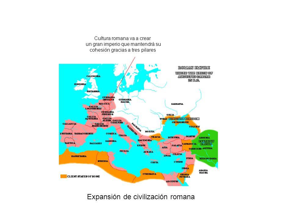 Expansión de civilización romana Cultura romana va a crear un gran imperio que mantendrá su cohesión gracias a tres pilares