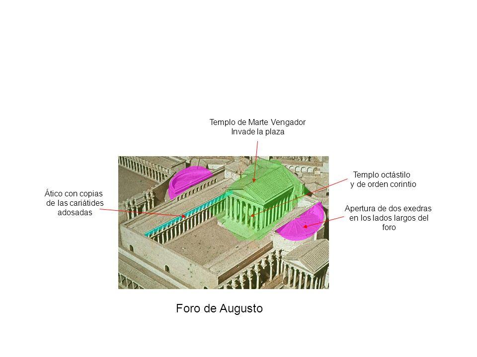 Foro de Augusto Templo de Marte Vengador Invade la plaza Templo octástilo y de orden corintio Apertura de dos exedras en los lados largos del foro Áti