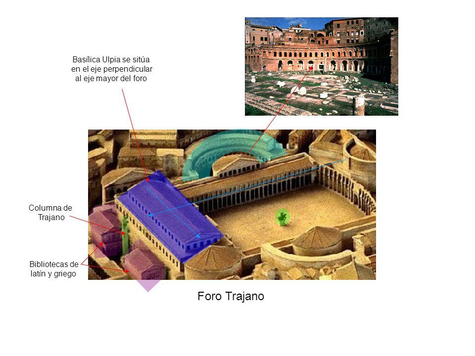 Foro Trajano Basílica Ulpia se sitúa en el eje perpendicular al eje mayor del foro Bibliotecas de latín y griego Columna de Trajano