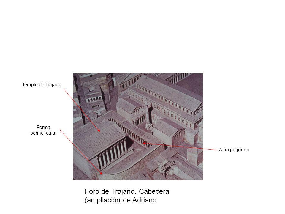 Foro de Trajano. Cabecera (ampliación de Adriano Forma semicircular Templo de Trajano Atrio pequeño