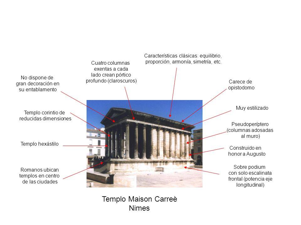 Sobre podium con solo escalinata frontal (potencia eje longitudinal) Pseudoperíptero (columnas adosadas al muro) Templo corintio de reducidas dimensio