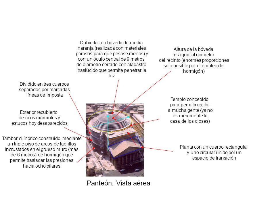 Panteón. Vista aérea Planta con un cuerpo rectangular y uno circular unido por un espacio de transición Dividido en tres cuerpos separados por marcada
