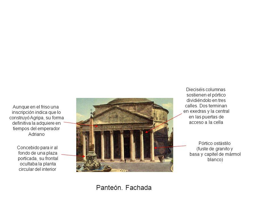 Panteón. Fachada Pórtico ostástilo (fuste de granito y basa y capitel de mármol blanco) Concebido para ir al fondo de una plaza porticada, su frontal