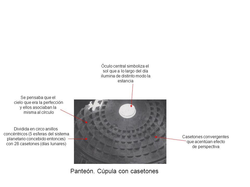 Panteón. Cúpula con casetones Dividida en circo anillos concéntricos (5 esferas del sistema planetario concebido entonces) con 28 casetones (días luna