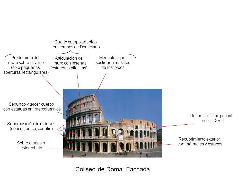 Coliseo de Roma. Fachada Cuarto cuerpo añadido en tiempos de Domiciano Sobre gradas o estereobato Superposición de órdenes (dórico, jónico, corintio)