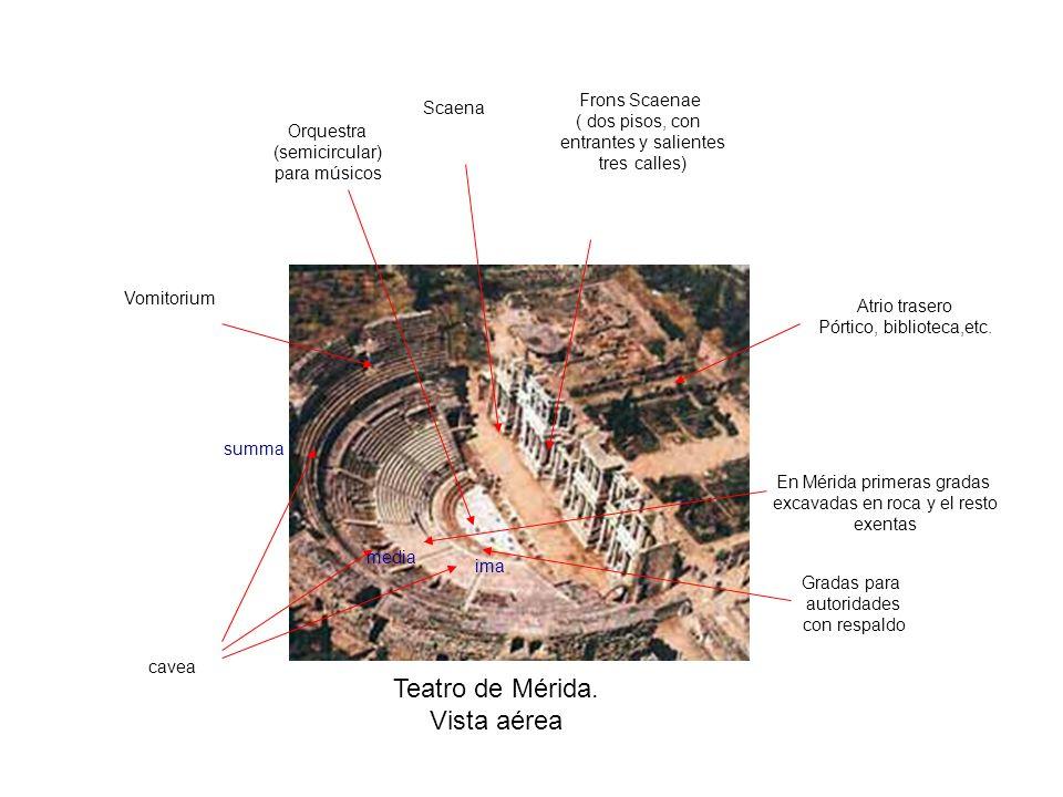 Teatro de Mérida. Vista aérea Scaena Frons Scaenae ( dos pisos, con entrantes y salientes tres calles) Orquestra (semicircular) para músicos cavea Vom