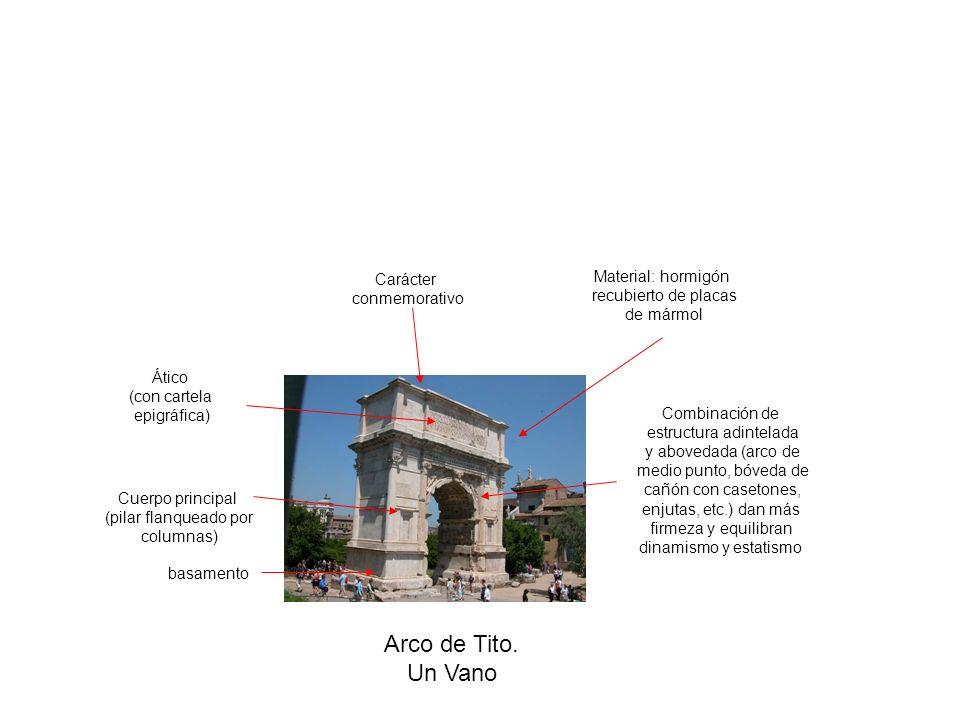 Arco de Tito. Un Vano basamento Cuerpo principal (pilar flanqueado por columnas) Ático (con cartela epigráfica) Carácter conmemorativo Combinación de