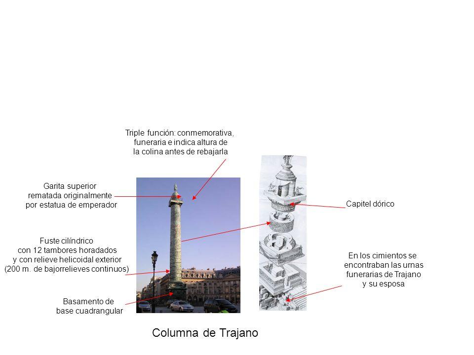 Columna de Trajano Triple función: conmemorativa, funeraria e indica altura de la colina antes de rebajarla Basamento de base cuadrangular Fuste cilín