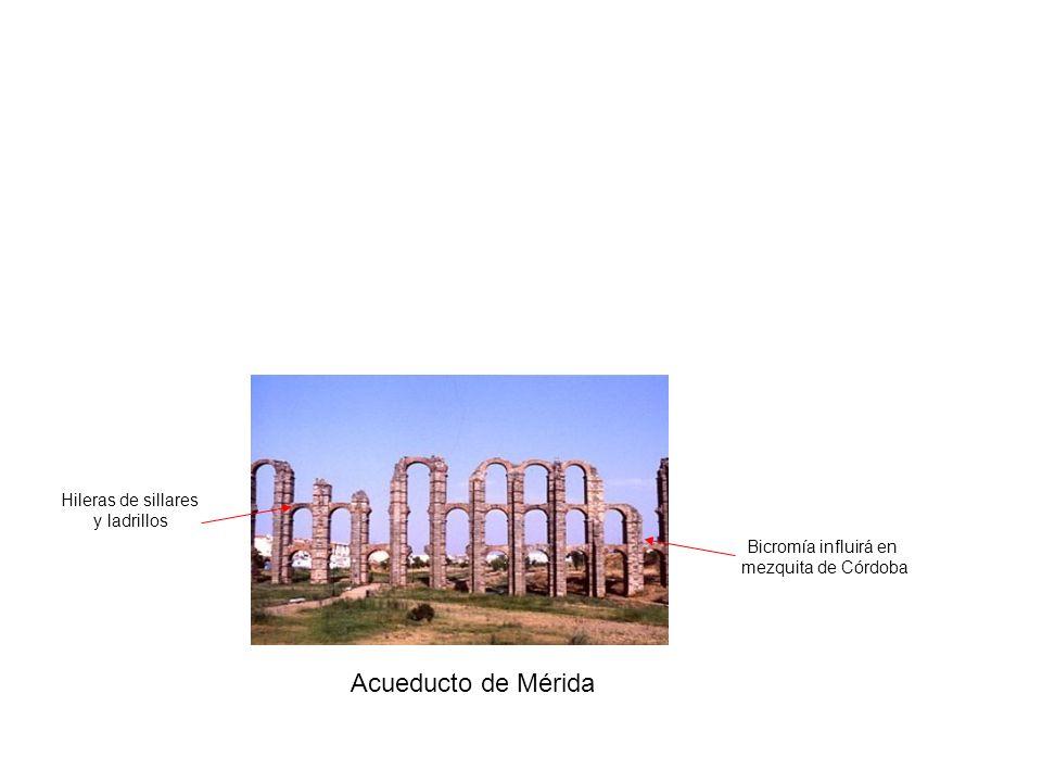 Acueducto de Mérida Bicromía influirá en mezquita de Córdoba Hileras de sillares y ladrillos