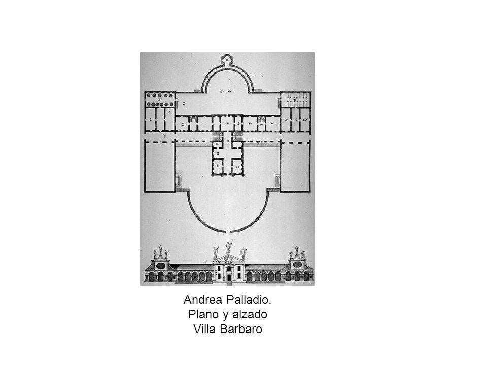 Andrea Palladio. Plano y alzado Villa Barbaro