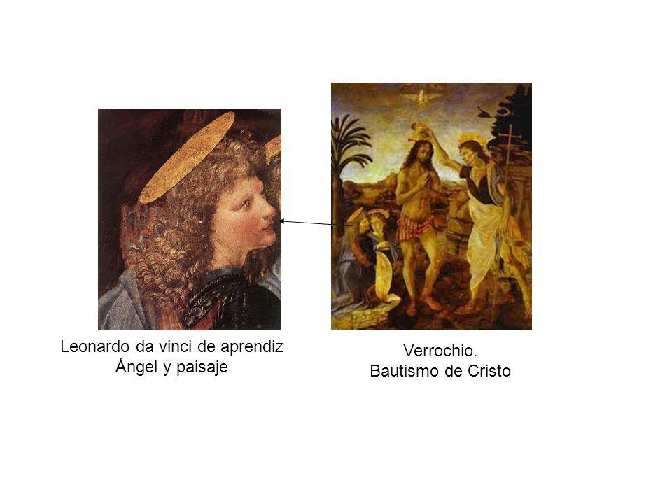 Verrochio. Bautismo de Cristo Leonardo da vinci de aprendiz Ángel y paisaje