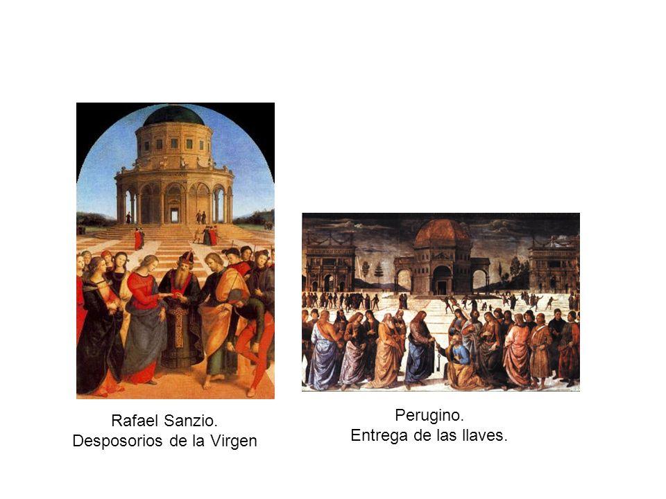 Perugino. Entrega de las llaves. Rafael Sanzio. Desposorios de la Virgen