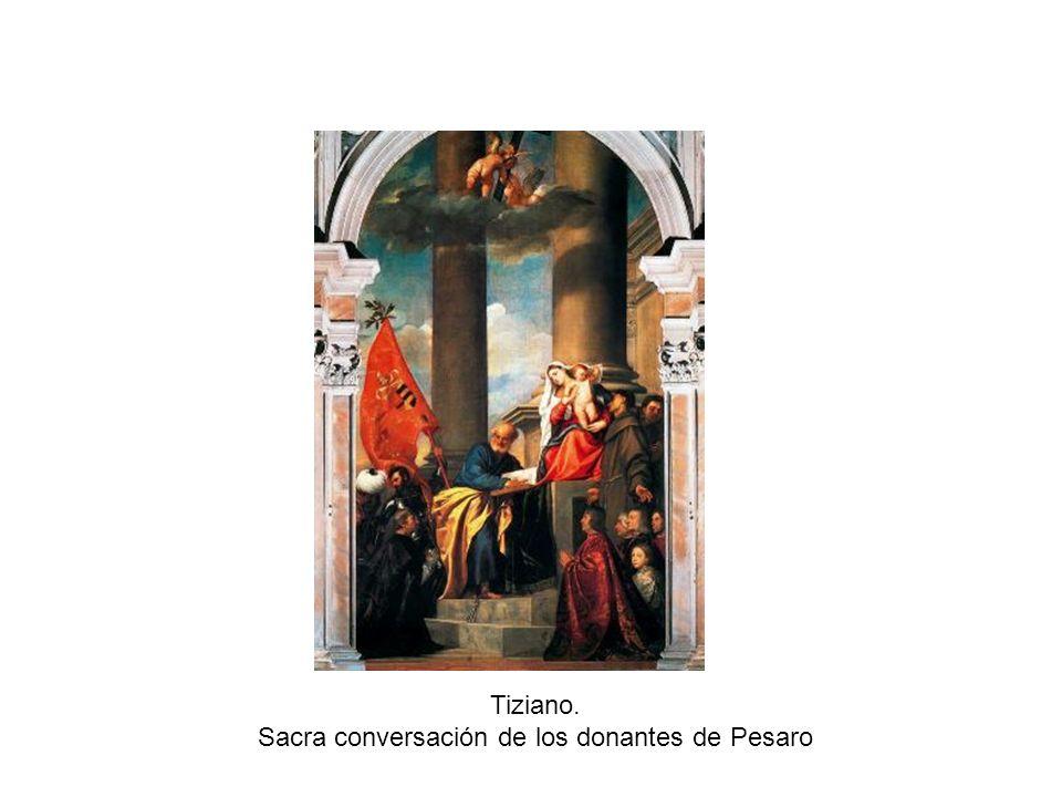 Tiziano. Sacra conversación de los donantes de Pesaro